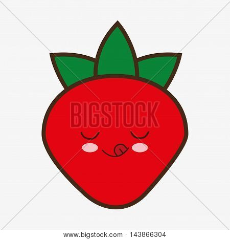strawberry kawaii cartoon smiling healthy food icon. Colorful and flat design. Vector illustration