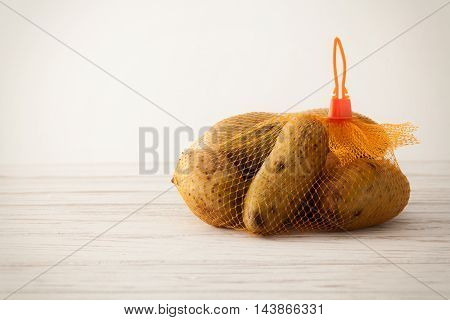 Potato Still Life White Wood Background