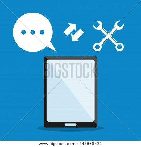 smartphone tools bubble call center technical service icon. Colorful design. Vector illustration