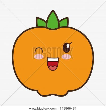 tangerine kawaii cartoon smiling healthy food icon. Colorful and flat design. Vector illustration