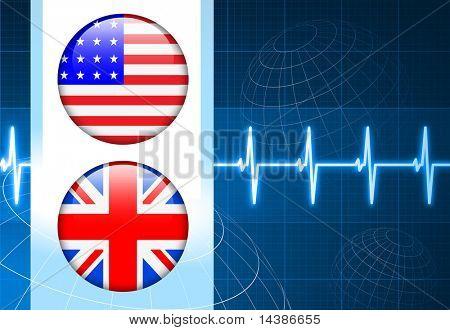 United States and British Flag Internet Buttons on pulse Background Original Vector Illustration
