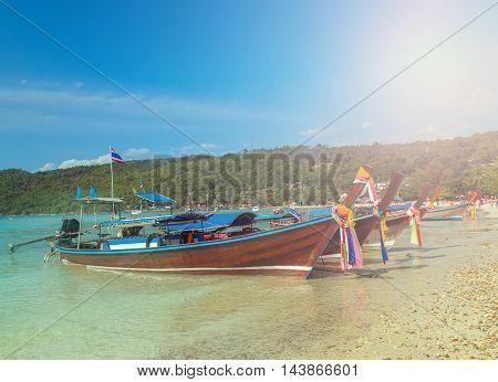 Boats On Beach Island In Thailand
