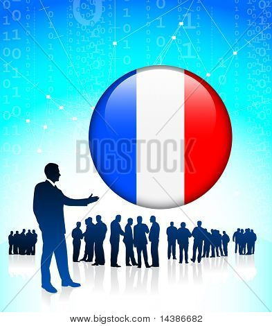 Businessman Leader with French Internet Button Original Vector Illustration