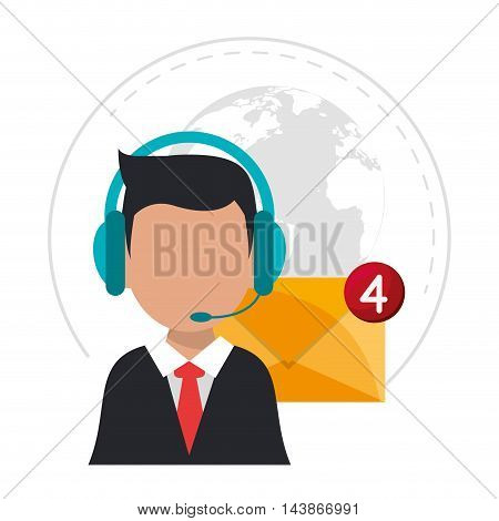 man headphone envelope avatar call center technical service icon. Colorful design. Vector illustration