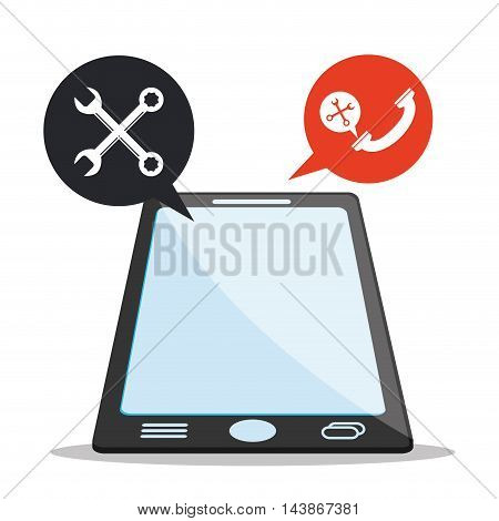 smartphone tools call center technical service icon. Colorful design. Vector illustration