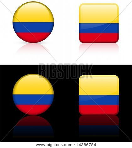 Columbia Flag Buttons on White and Black Background Original Vector Illustration AI8 Compatible