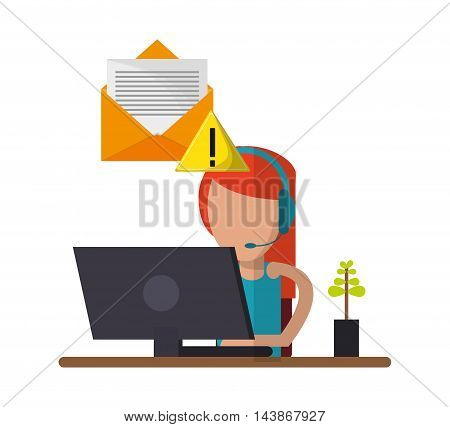 woman headphone computer avatar call center technical service icon. Colorful design. Vector illustration
