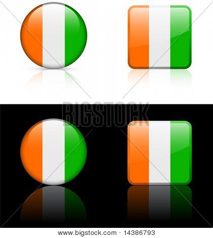 cote d'ivoire Flag Buttons on White and Black Background Original Vector Illustration AI8 Compatible