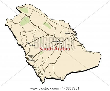 Vector Accurate Map of Saudi Arabia with cities and roads