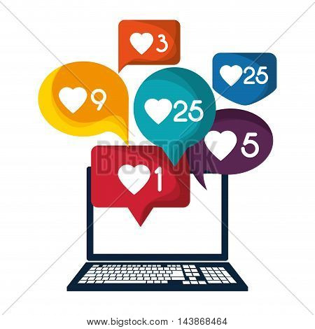laptop bubble mail message email send communication icon. Colorful design. Vector illustration