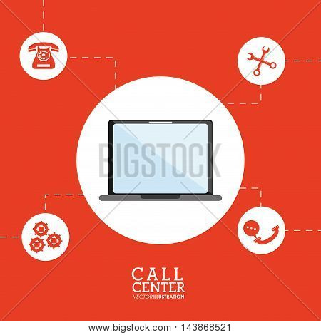 laptop tools bubble call center technical service icon. Colorful design. Vector illustration