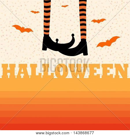 Halloween gradient background with bats hanging legs and randomly geometric forms.