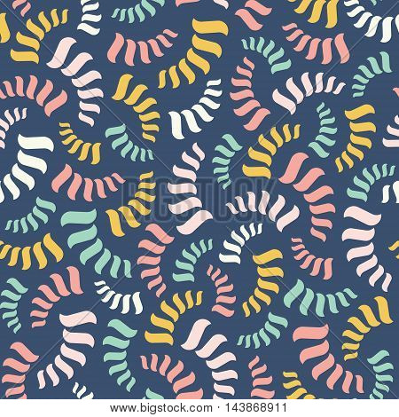 Vector seamless abstract pattern. Colorful spirals or threads or rope