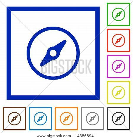 Set of color square framed compass flat icons