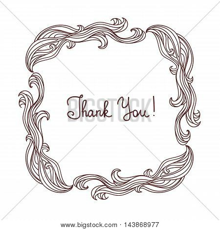 Floral frame with hand-drawn natural graphic elements. Thank you