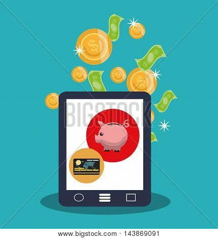 tablet bills coins piggy credit card ecommerce shopping online technology icon. Colorful and Flat design. Vector illustration