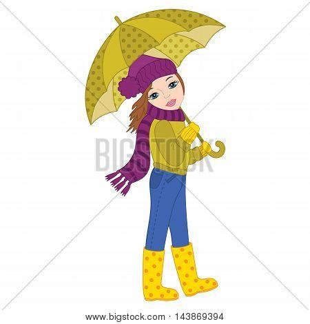 Vector autumn beautiful brunette girl with umbrella