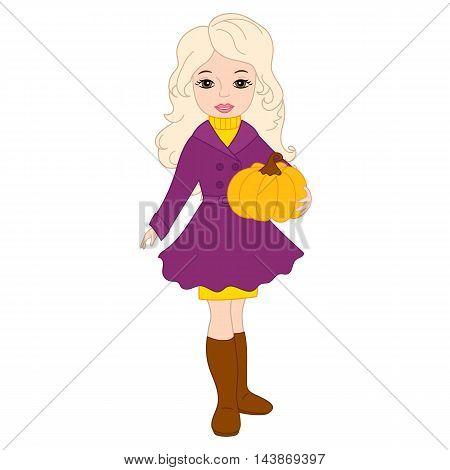Vector autumn beautiful blond girl with pumpkin
