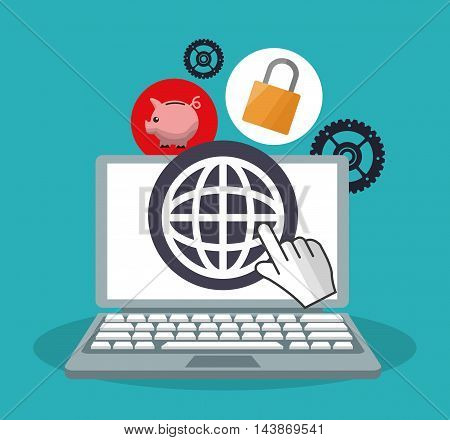 laptop padlock piggy gears ecommerce shopping online technology icon. Colorful and Flat design. Vector illustration