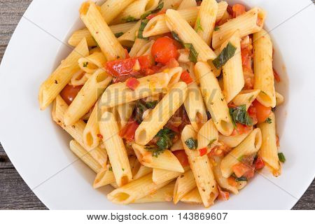 fresh tomato and basil pasta penne plate