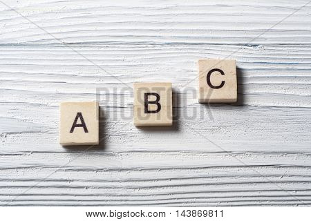 ABC Words. Toy bricks on the table.