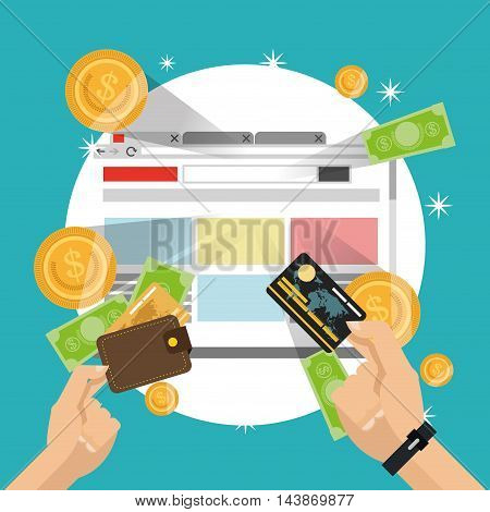 site wallet credit card bills coins ecommerce shopping online icon. Colorful and Flat design. Vector illustration