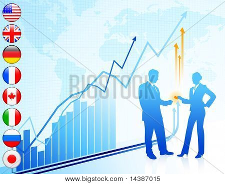 Business team with world map and internet flag buttons Original Vector Illustration