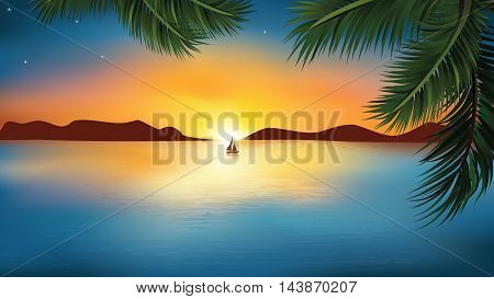 Sunset landscape with ocean / sea, ship reflected in water and palm tree leaves. Copy space for your own text