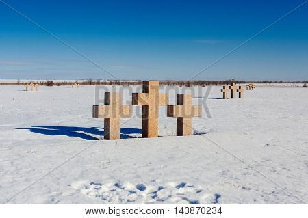 German military memorial graveyard near Volgograd city.