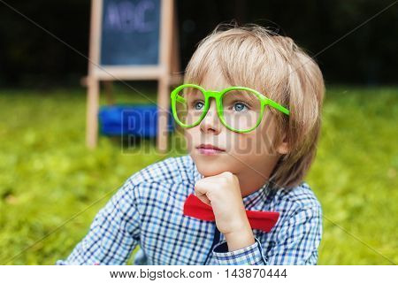 smart little boy with glasses. Concept back to school