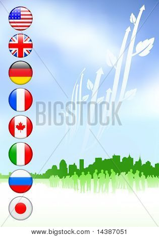 Business Crowd on Internet Flag Buttons Background Original Vector Illustration