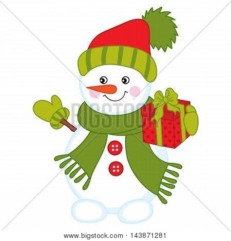 Vector Christmas snowman in red hat with gift box