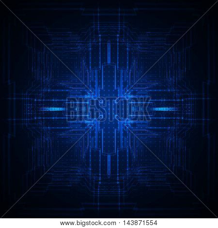 Abstract geometric blue technology hi-tech background, Vector illustration