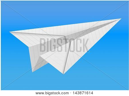 illustration of origami paper airplane on white background linen paper