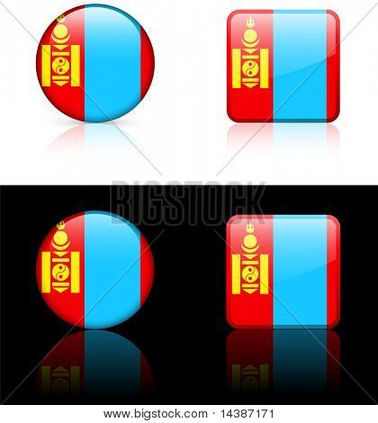 mongolia Flag Buttons on White and Black Background