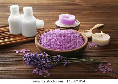 Beautiful spa composition with lavender on wooden background
