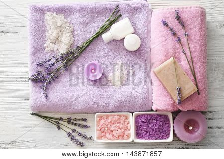 Beautiful spa composition with lavender, closeup