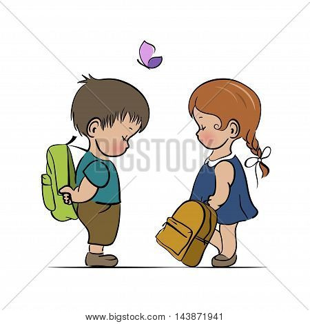 Little boy and girl with backpacks preparing to go to school. Vector illustration