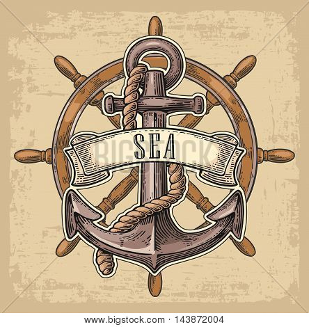 Anchor and wheel with ribbon isolated on beige background. Vector vintage engraving illustration with title SEA. Hand drawn in a graphic style.