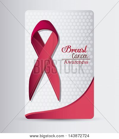 ribbon breart cancer awareness campaign foundation icon. Pink design. Vector illustration