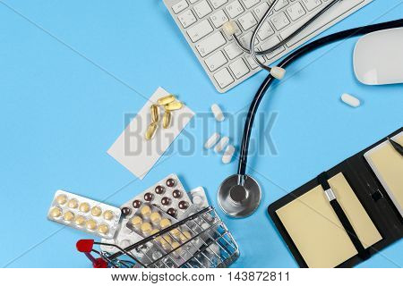 Medical Report With Pills And A Stethoscope.