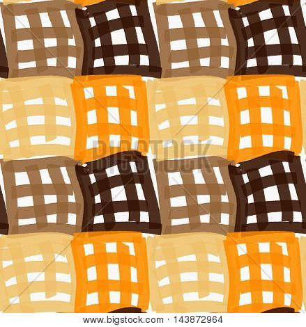 Painted Orange And Brown Checkered Marker Squares