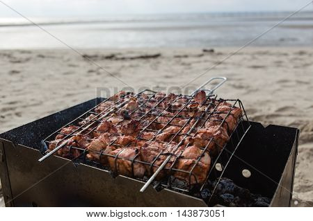 Preparing barbeque on sea coast. Pig meat.