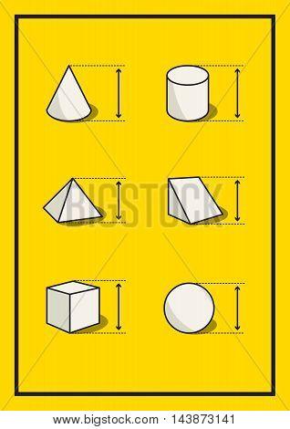 Set of geometric volume figures. Vector illustration