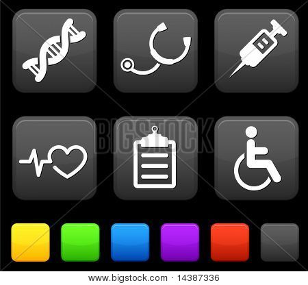 Medical Icons on Square Internet Buttons Original vector Illustration