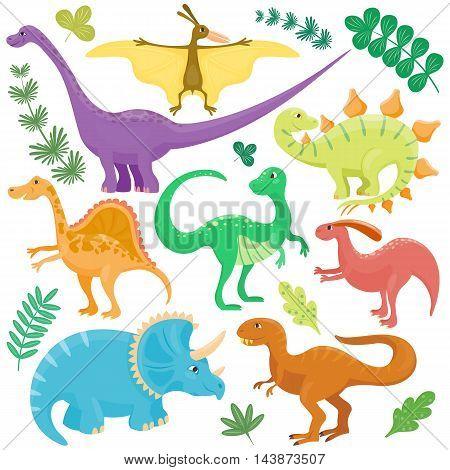 Dinosaur cartoon collection set vector illustration.