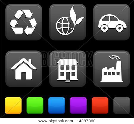 Nature Environment icons on square internet buttons Original vector Illustration