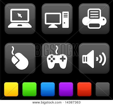 Technology Icons on Square Internet Buttons Original vector Illustration