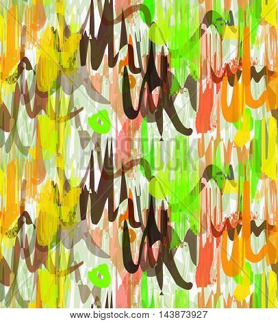 Rough Brush Green Yellow And Brown Overlapping Strokes