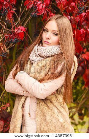 Woman Fashion Girl Relaxing Walking In Autumnal Park